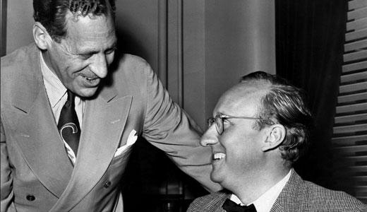 Dann Byck (right) greets Mayor Charles Farnsley, circa 1950