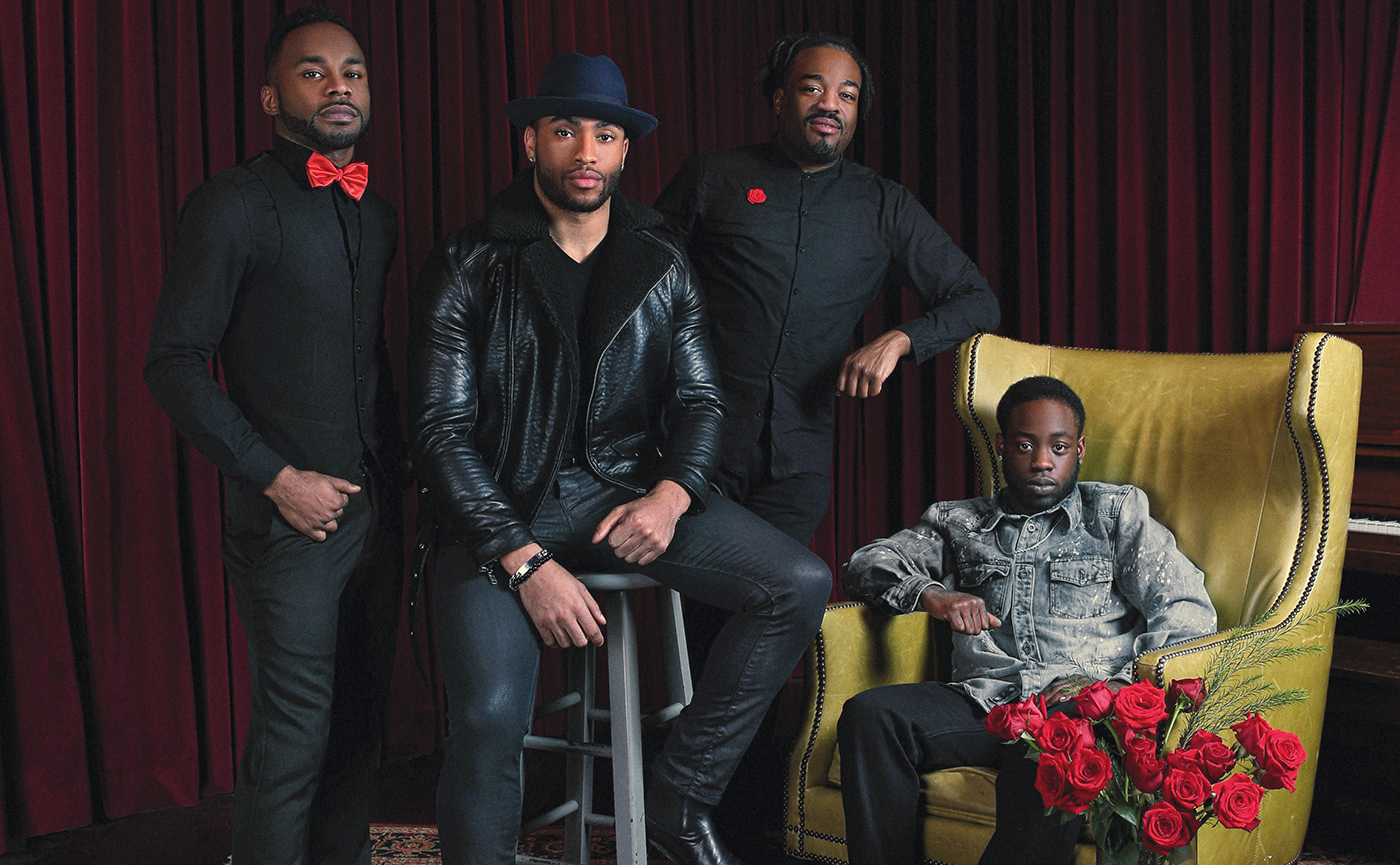 """Shawn """"Shawnee"""" Roberts, Koree Antonio, Jaison Gardner and Mykel Mickens, members and supporters of LouisVogue, which will be performing at Rainbows & Roses. Roses provided by Boston's Floral Couture."""