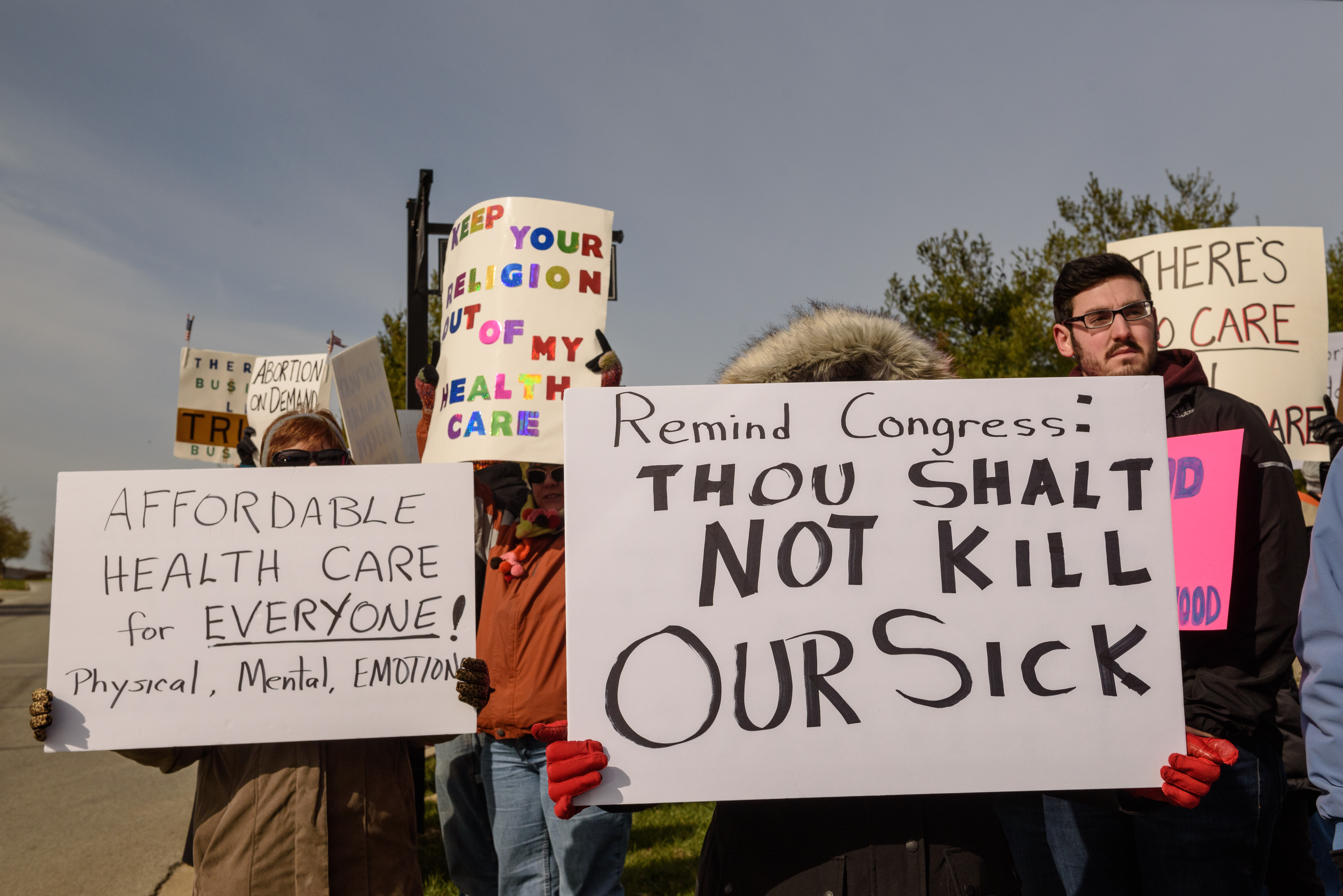 The protest was in regard to the Republican Party''s proposed changes to the Affordable Care Act.