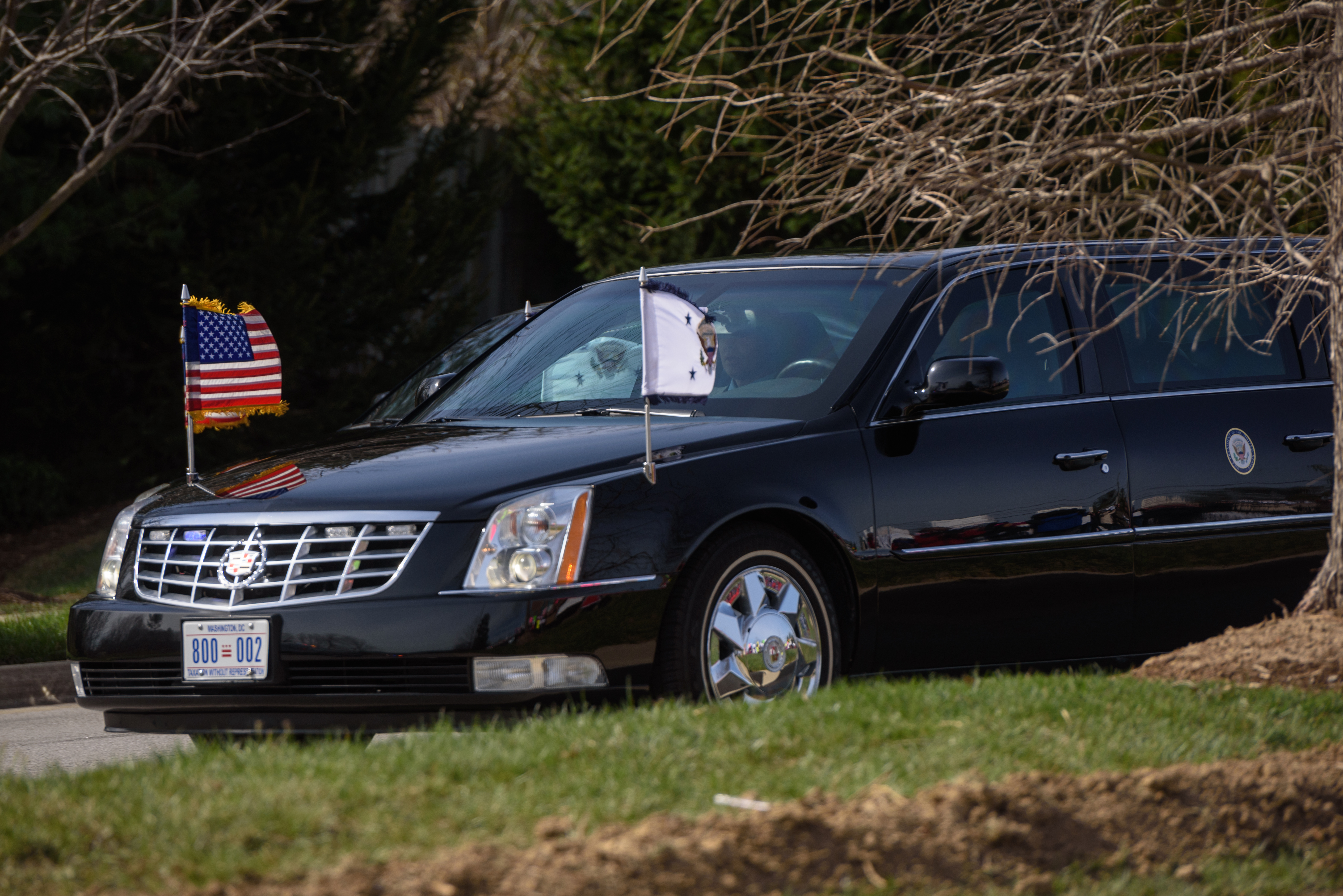 The arrival of the Vice Presidential limousine.